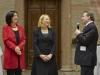 v.li.: Nationalratsabgeordnete Christine Muttonen (S), Nationalratspräsidentin Doris Bures (S) und OSCE Präsident Ilkka Kanerva bei der Begrüßung